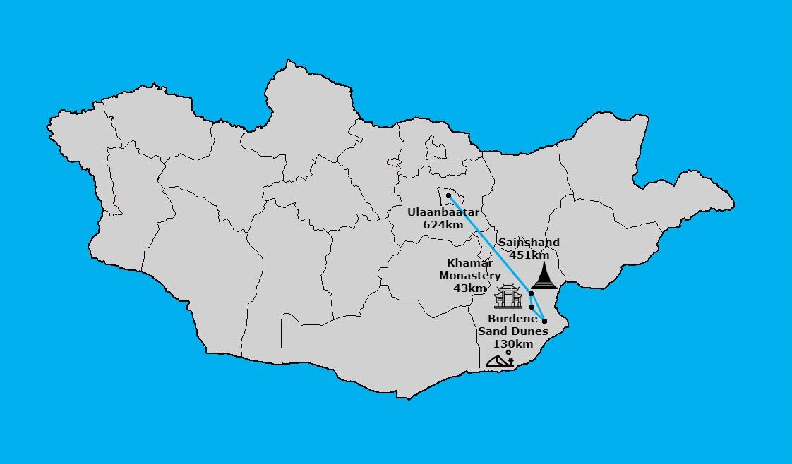 Sainshand trip map